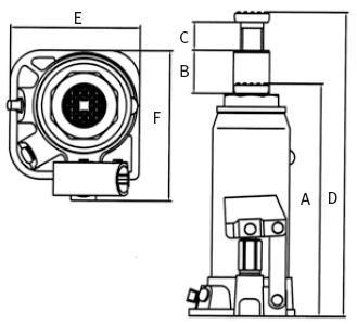 Podnośnik hydrauliczny słupkowy (butelkowy) dwustopniowy Unicraft HSWH 3
