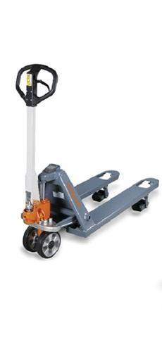 Wózek paletowy widłowy (paleciak) UNICRAFT PHW 2002WP z wbudowaną wagą elektroniczną.
