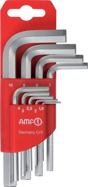 Zestaw kluczy imbusowych sześciokątnych 1,5-10 AMF