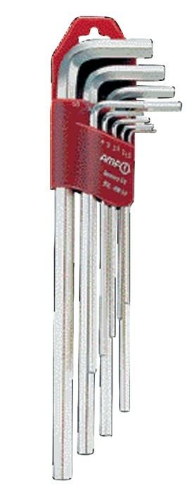 Zestaw kluczy imbusowych sześciokatnych długich 1,5-10 AMF