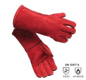 Rękawice spawalnicze RHINOWELD MIG Simply Red GL016 czerwone 10,5 XL z nicią kevlarową i częściową wyściółką bawełnianą