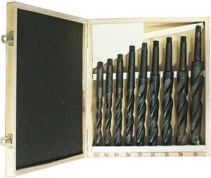 Zestaw 9 wierteł spiralnych HSS do metalu ze stożkiem Morse`a MT 2 MK 2 prawoskretne OPTIMUM