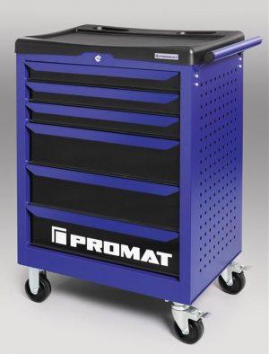 Wózek narzędziowy warsztatowy PROMAT z sześcioma szufladami obciążenie 300 kg
